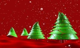 Alberi di Natale con la caduta della neve Fotografia Stock Libera da Diritti