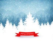 Alberi di Natale con neve di caduta Fotografia Stock