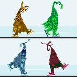 Alberi di Natale delle curve con le decorazioni Immagini Stock Libere da Diritti