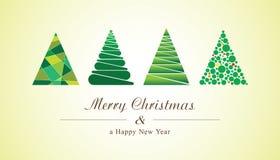 Alberi di Natale delle forme geometriche Scheda di nuovo anno di vettore Fotografia Stock