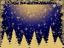 Alberi di Natale di Grunge con i fiocchi di neve Fotografie Stock Libere da Diritti