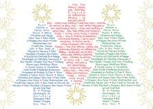 Alberi di Natale di saluti nei linguaggi differenti Immagine Stock