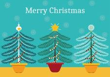 Alberi di Natale differenti - illustrazione nello stile minimalista illustrazione vettoriale