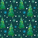Alberi di Natale disegnati a mano di vettore con gli ornamenti Immagine Stock