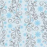 Alberi di Natale e fiocchi di neve Reticolo senza giunte Fotografia Stock Libera da Diritti