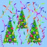 Alberi di Natale e la serpentina Elementi per le cartoline di Natale di progettazione Immagine Stock