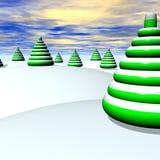 Alberi di Natale e neve Fotografia Stock Libera da Diritti