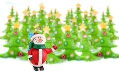 Alberi di Natale e pupazzo di neve Fotografia Stock