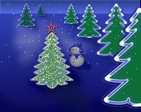 Alberi di Natale e pupazzo di neve astratti Fotografia Stock Libera da Diritti