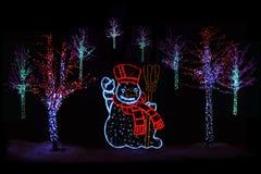 Alberi di Natale e pupazzo di neve illuminati Immagini Stock Libere da Diritti