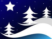 Alberi di Natale e stelle illustrazione di stock