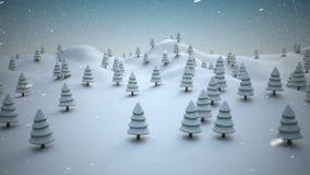 Alberi di Natale innevati su un paesaggio nevoso illustrazione vettoriale