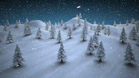 Alberi di Natale innevati su un paesaggio nevoso illustrazione di stock