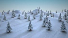 Alberi di Natale innevati su un paesaggio nevoso royalty illustrazione gratis