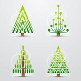 Alberi di Natale, insieme delle icone stilizzate di vettore Fotografia Stock Libera da Diritti