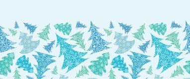 Alberi di Natale strutturati del fiocco di neve orizzontali Fotografie Stock Libere da Diritti
