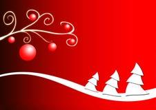 Alberi di Natale su colore rosso Fotografie Stock Libere da Diritti