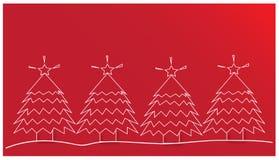 Alberi di Natale su fondo rosso Fotografia Stock