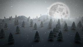 Alberi di Natale su un paesaggio nevoso royalty illustrazione gratis