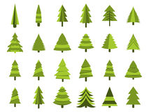 Alberi di Natale in uno stile piano Isolamento degli abeti su un fondo bianco Vettore illustrazione di stock