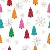 Alberi di Natale variopinti Modello senza cuciture, illustrazione sveglia e puerile di stile illustrazione vettoriale