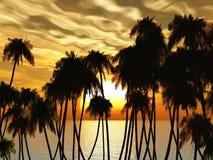 Alberi di tramonto illustrazione vettoriale