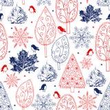 Alberi disegnati a mano e modello senza cuciture dei fiocchi di neve illustrazione di stock