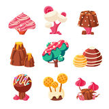 Alberi dolci di fantasia messi illustrazione di stock