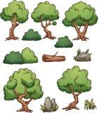 Alberi e cespugli del fumetto della foresta illustrazione vettoriale