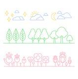 Alberi e fiori disegnati a mano nello stile lineare Immagine Stock
