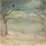Alberi e fondo verdi del cielo della nuvola royalty illustrazione gratis