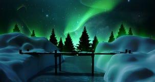 Alberi e ponte innevati su un paesaggio nevoso illustrazione vettoriale