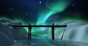 Alberi e ponte innevati su un paesaggio nevoso illustrazione di stock