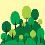 Alberi forestali nel paesaggio della montagna Fotografie Stock