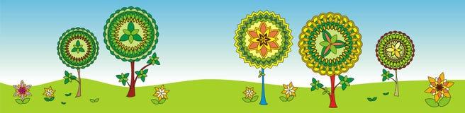 Alberi geometrici decorativi. Fotografie Stock Libere da Diritti