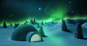 Alberi innevati su un paesaggio nevoso illustrazione di stock