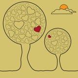 Alberi nell'amore Illustrazione di Stock