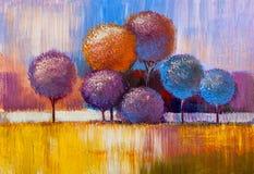 Alberi, pittura a olio, fondo artistico illustrazione di stock