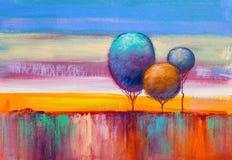 Alberi, pittura a olio, fondo artistico illustrazione vettoriale