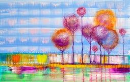 Alberi, pittura a olio, fondo artistico royalty illustrazione gratis