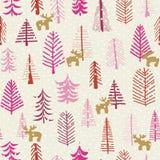 Alberi senza cuciture della renna del modello di festa di Natale illustrazione di stock