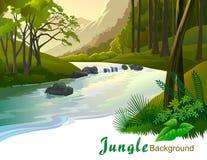 Alberi tropicali e fiume della giungla che zampillano Immagine Stock Libera da Diritti