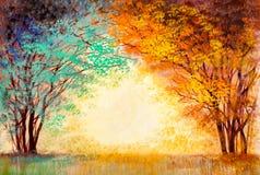 Alberi variopinti in autunno in un parco illustrazione di stock