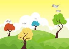 Alberi variopinti con la montagna e l'uccello royalty illustrazione gratis