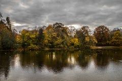 Alberi variopinti di autunno Tempo nuvoloso immagine stock