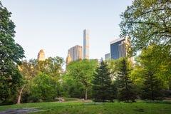 Alberi verdi e Midtown Manhattan dal Central Park NYC del sud fotografia stock libera da diritti