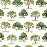 Alberi verdi Fondo all'aperto di ecologia Ripetizione del reticolo watercolor immagini stock libere da diritti
