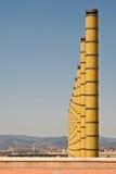 Alberini della lampada alla terra olimpica dello stadio di Barcellona fotografia stock libera da diritti