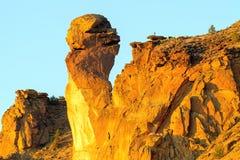 Albern Sie Gesichts-Säule bei Smith Rock in Mittel-Oregon herum Stockfoto