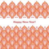 Albern Sie horizontale Grenzen des neuen Jahres der Köpfe mit Grüßen herum Stockfotos